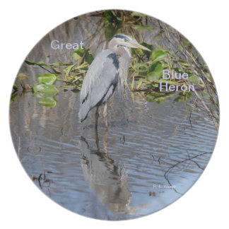Plate/ Great Blue Heron & reflection Party Plates