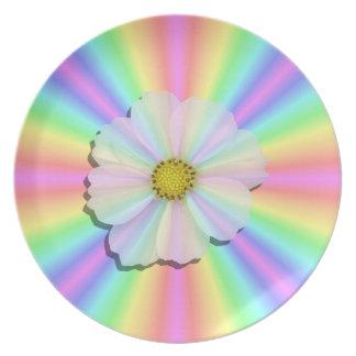 Plate - Groovy Radiant Rainbow With Flower Power