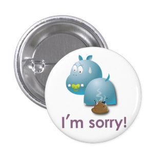 Plate hippopotamus 1 inch round button