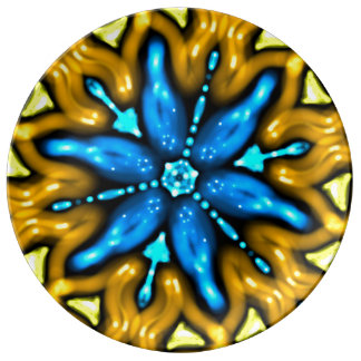 Plate Jimette blue Design flower on yellow bottom