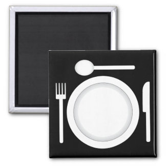 Plate knife fork and spoon square magnet