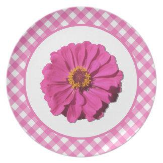 Plate - Magenta Zinnia and Lattice