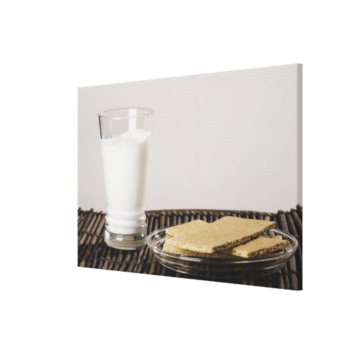Plate of snacks with a glass of milk gallery wrapped canvas