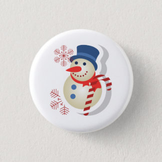 Plate of snowman 1 inch round button