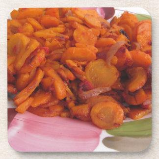 Plate of stir-fried carrots coaster