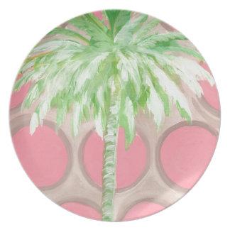 Plate Pink Polka Dot Palm Tree