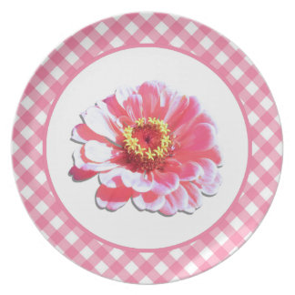 Plate - Pink Zinnia and Lattice