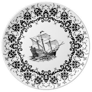 plate porcelain ship porcelain plate