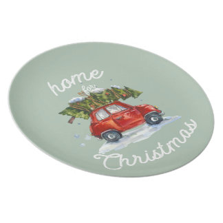 Plate Red Car and Tree