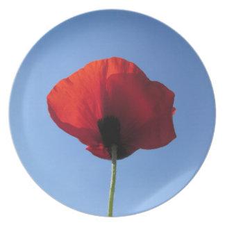 Plate - Red Poppy Blue Sky