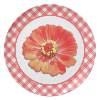 Plate - Red Zinnia and Lattice