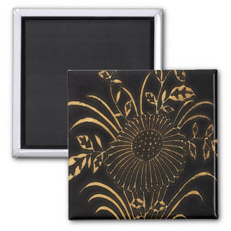 Plate with Beige Flower on Brown Square Magnet