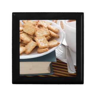 Plate with crackers and cup of tea gift box