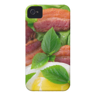 Plate with egg yolk, fried bacon and herbs iPhone 4 cover