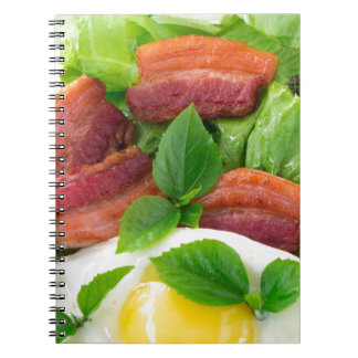 Plate with egg yolk, fried bacon and herbs notebook