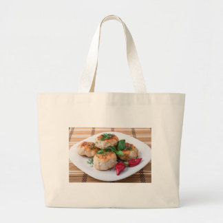 Plate with fried meatballs minced chicken large tote bag