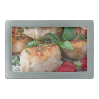 Plate with fried meatballs minced chicken rectangular belt buckles