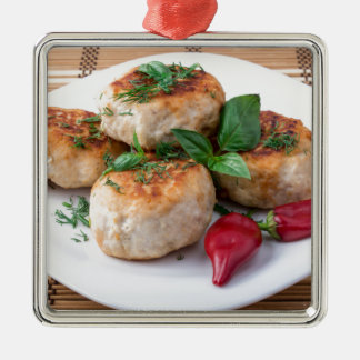 Plate with fried meatballs minced chicken Silver-Colored square ornament