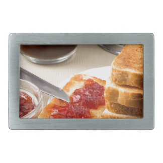 Plate with fried slices of bread for breakfast belt buckle