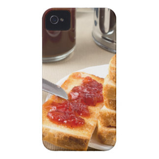 Plate with fried slices of bread for breakfast iPhone 4 Case-Mate cases