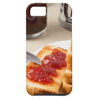 Plate with fried slices of bread for breakfast iPhone 5 cases