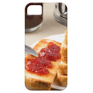 Plate with fried slices of bread for breakfast iPhone 5 cover