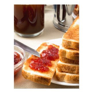 Plate with fried slices of bread for breakfast letterhead