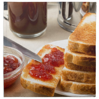 Plate with fried slices of bread for breakfast napkin