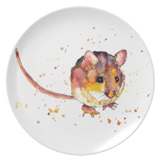 Plate with handpainted mouse