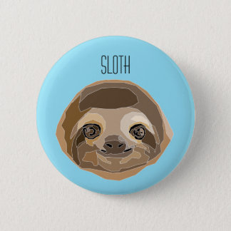 Plate with illustration of Sluggish - a Sloth 2 Inch Round Button