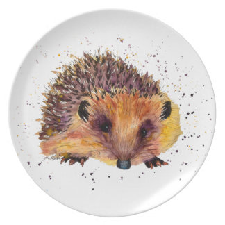 Plate with multicolored handpainted hedgehog