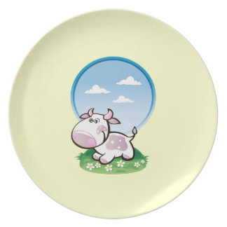 plate with nice purple cow
