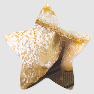 Plate with sweet pastries with sweet cheese star sticker