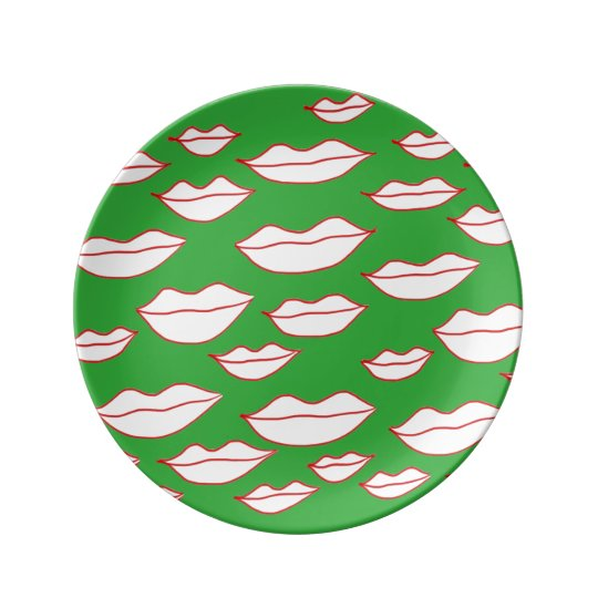 Plates With Lips Print Porcelain Plates