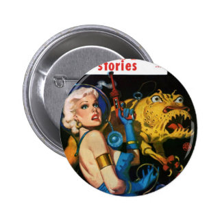 Platinum Blonde and her Monster Friend 2 Inch Round Button
