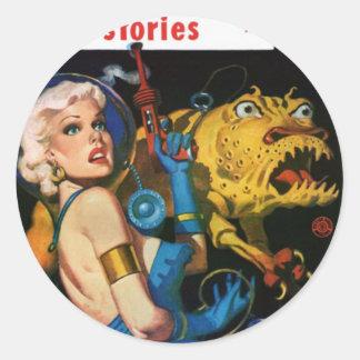 Platinum Blonde and her Monster Friend Classic Round Sticker
