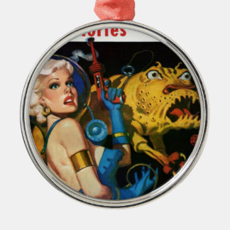 Platinum Blonde and her Monster Friend Metal Ornament