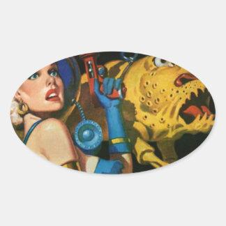 Platinum Blonde and her Monster Friend Oval Sticker