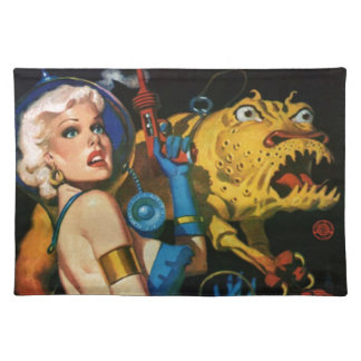 Platinum Blonde and her Monster Friend Place Mat