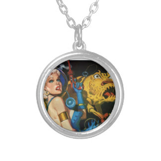 Platinum Blonde and her Monster Friend Silver Plated Necklace