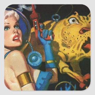 Platinum Blonde and her Monster Friend Square Sticker