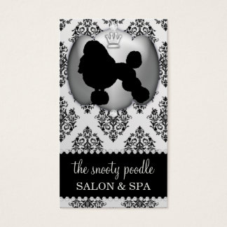 Platinum Grey Jeweled Damask Dog Grooming/Spa Business Card