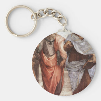 Plato and Aristotle Basic Round Button Keychain