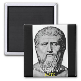 Plato 'Conquer Self' motivational quote magnet