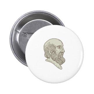 Plato Greek Philosopher Head Mono Line 2 Inch Round Button