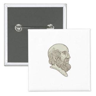 Plato Greek Philosopher Head Mono Line 2 Inch Square Button