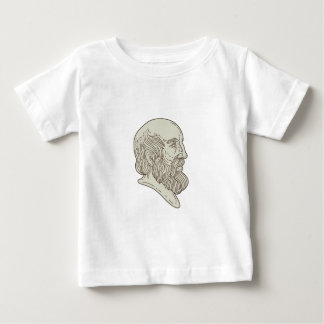 Plato Greek Philosopher Head Mono Line Baby T-Shirt