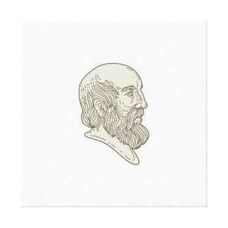 Plato Greek Philosopher Head Mono Line Canvas Print