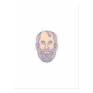 Plato Greek Philosopher Head Mono Line Postcard