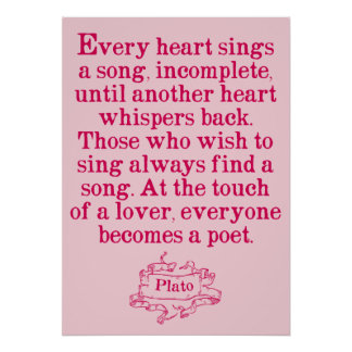 Plato - Love/Song/Poetry Quote Poster